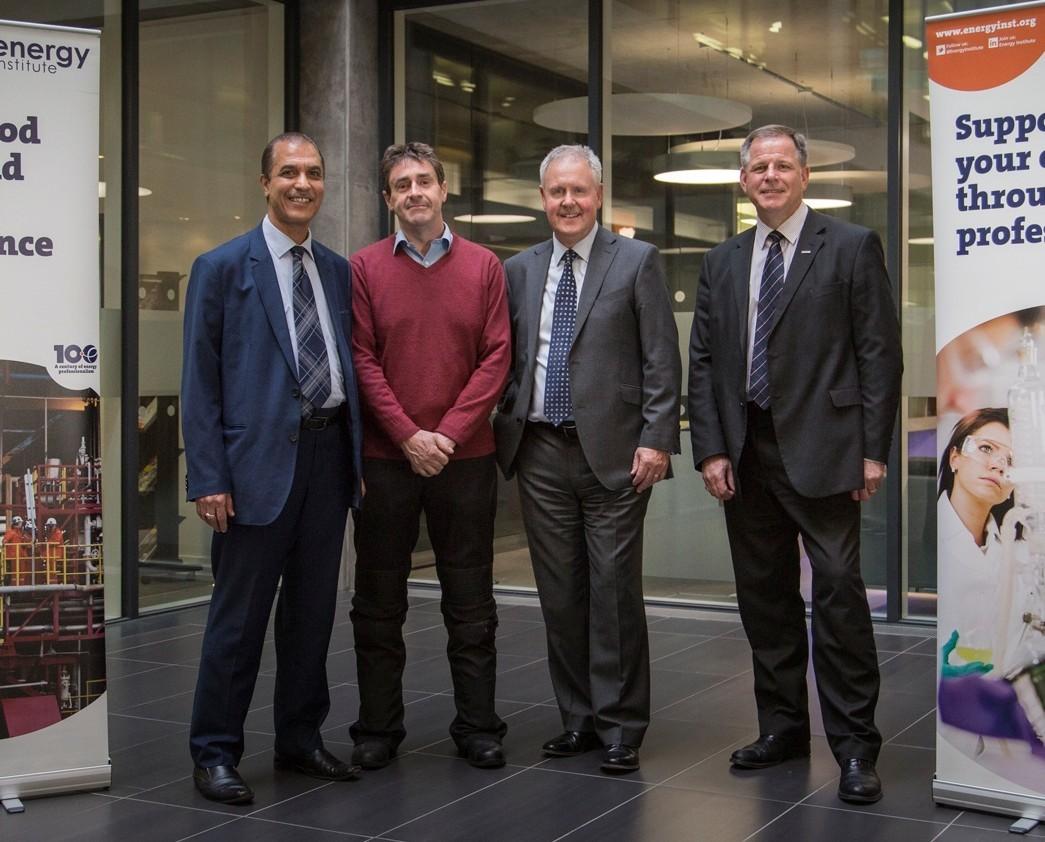From Left: Dr Mohamed Amish, Professor Jim Anderson, Dave Stewart, and Nigel Bradburn