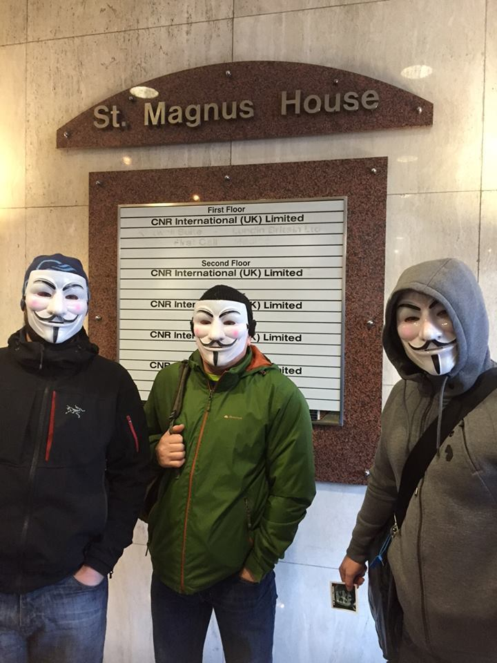 Offshore workers wore masks as they staged a protest in Aberdeen