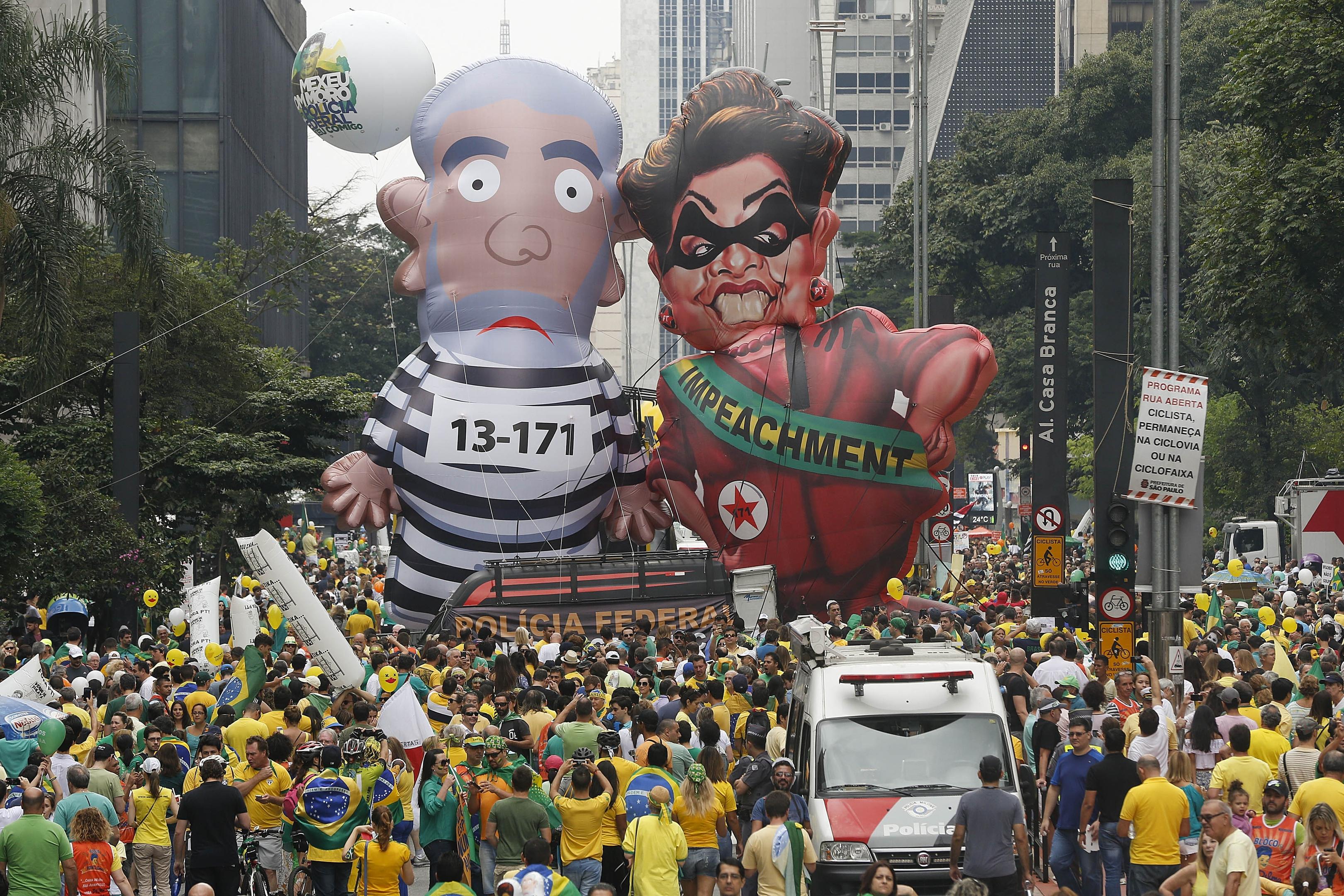 Demonstrators parade in Brazil over political corruption frustrations