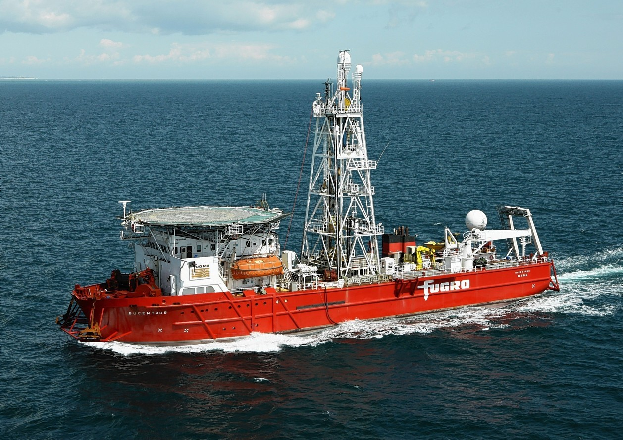 Fugro's MV Bucentaur, which is carrying out geotechnical drilling work in Aberdeen Bay.