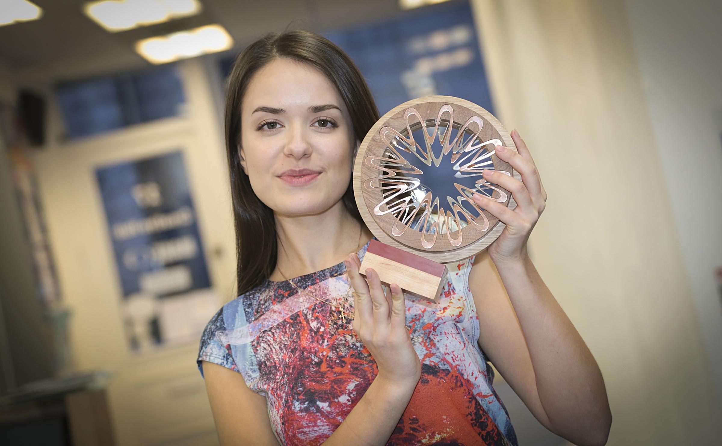 Irina Viskanta with her finished OAA trophy