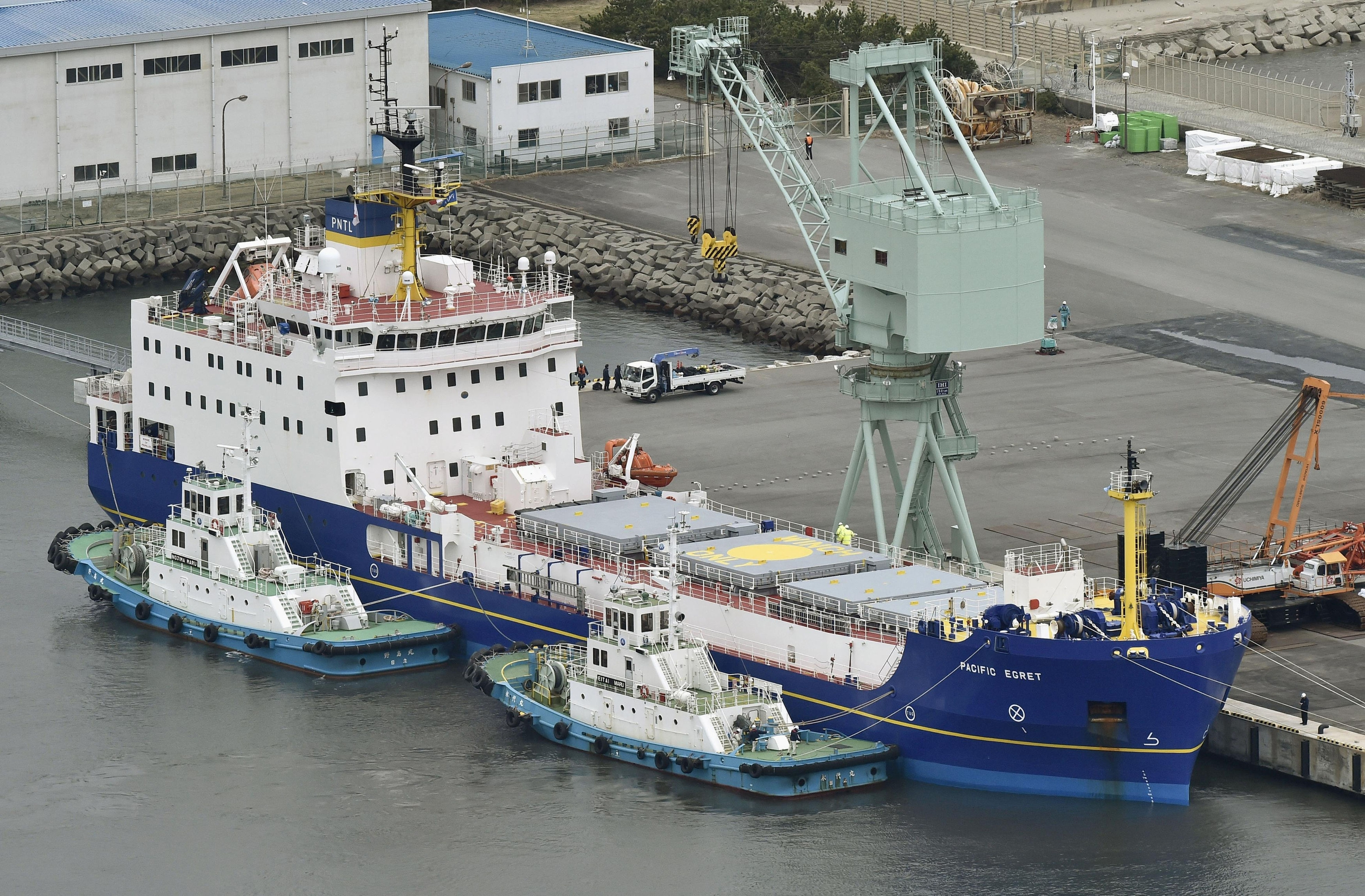 The Pacific Egret, one of the two British-flagged ships arrived in Japan, is anchored at a port in the village of Tokai, northeast of Tokyo