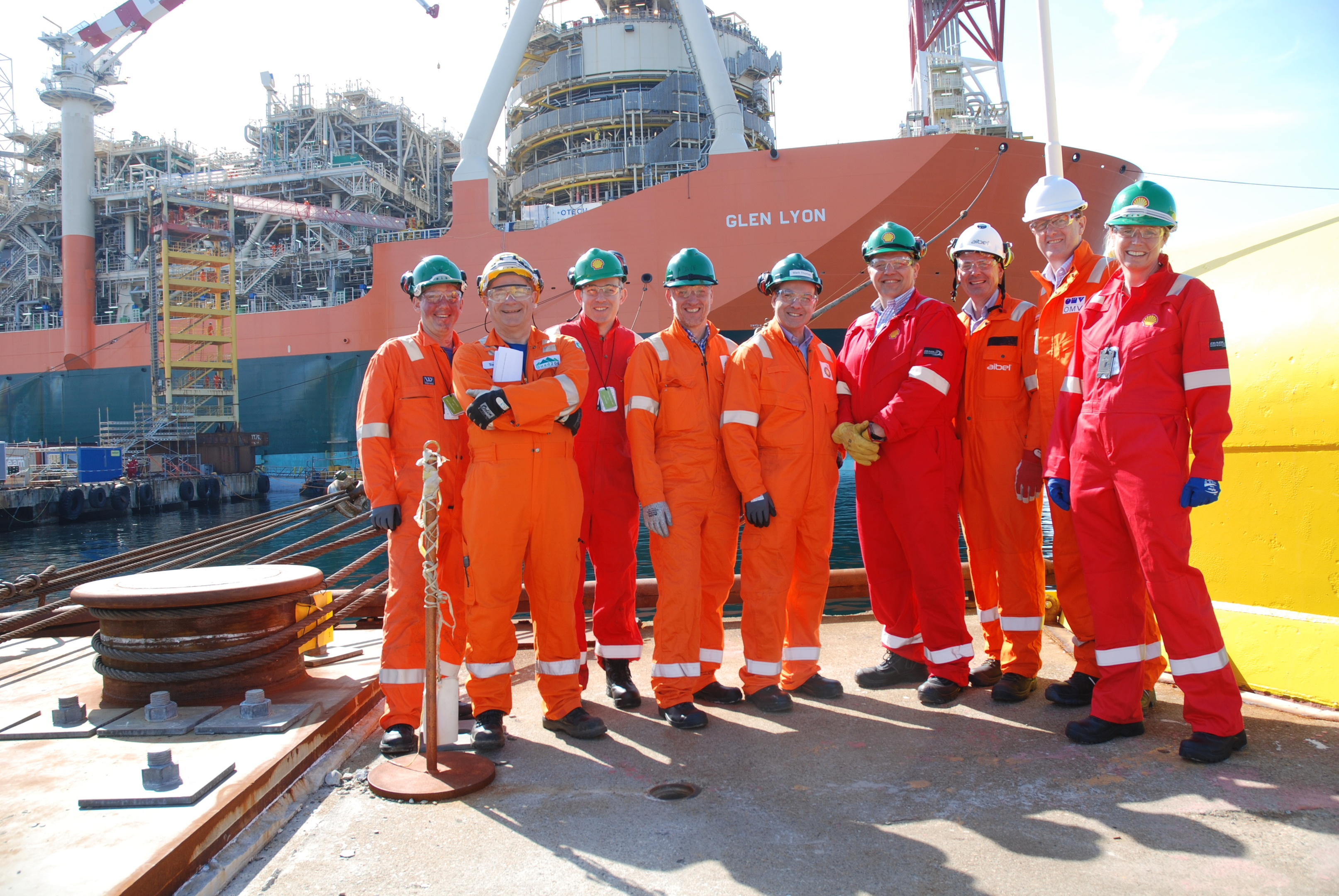 Mark Thomas, centre, with BP colleagues and Quad 204 representatives