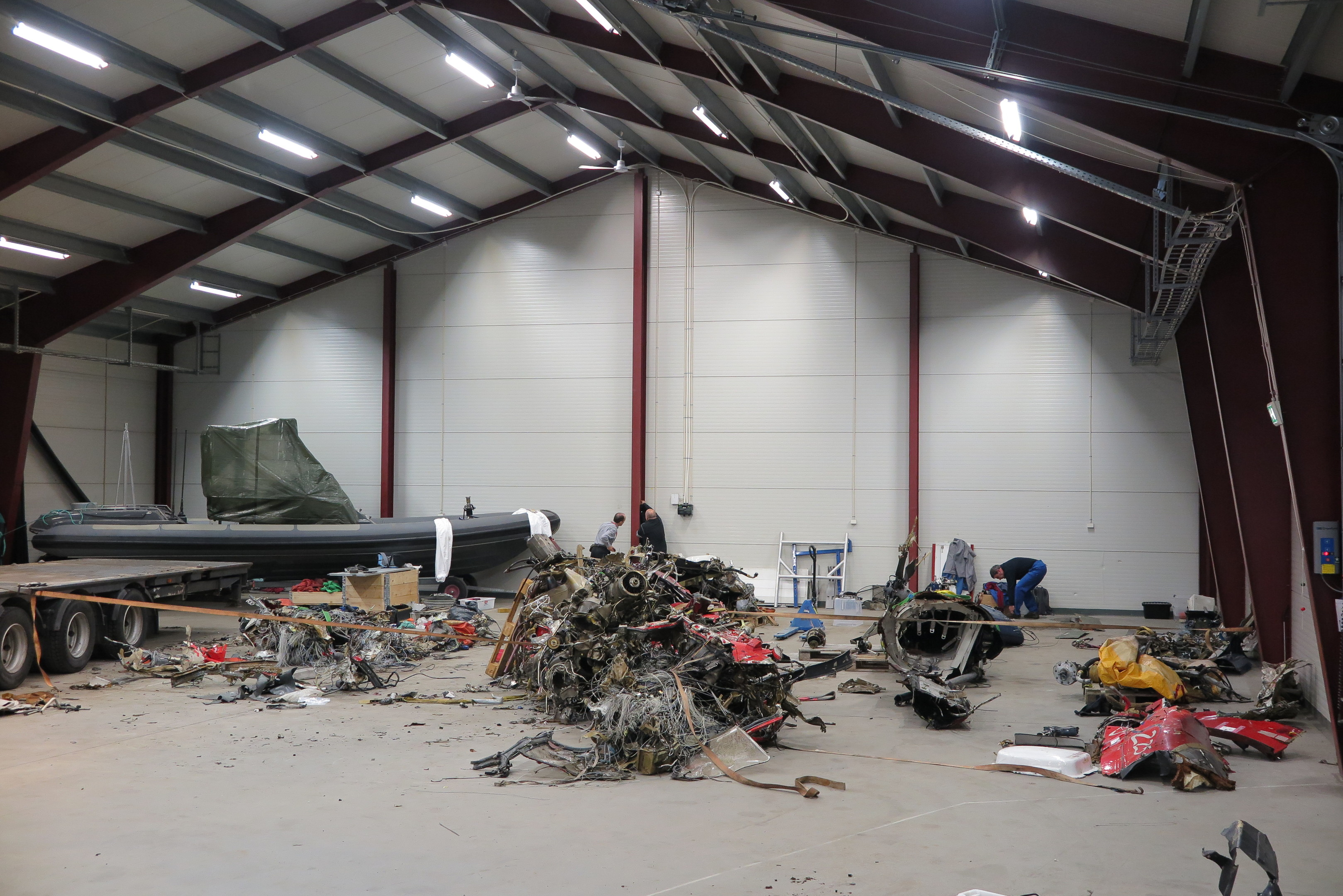 Wreckage from the helicopter in a naval base in Norway.