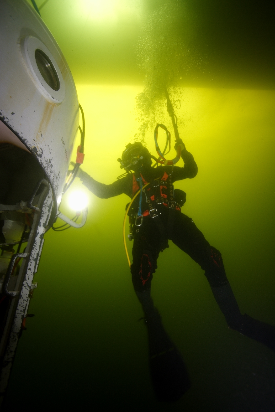 A diver being put through his paces at The Underwater Centre in Fort William.