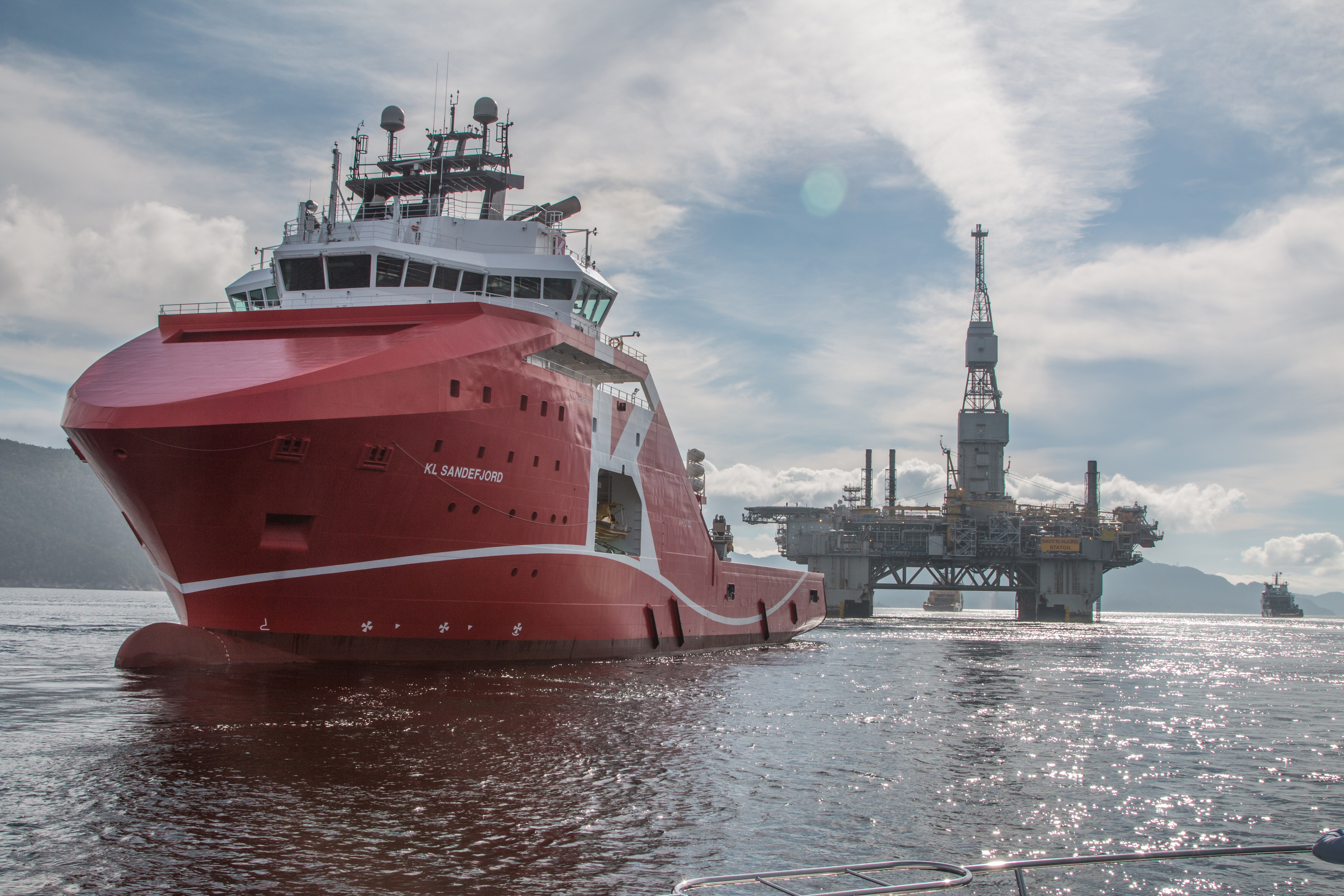 Statoil's Njord A platform being towed to a yard.