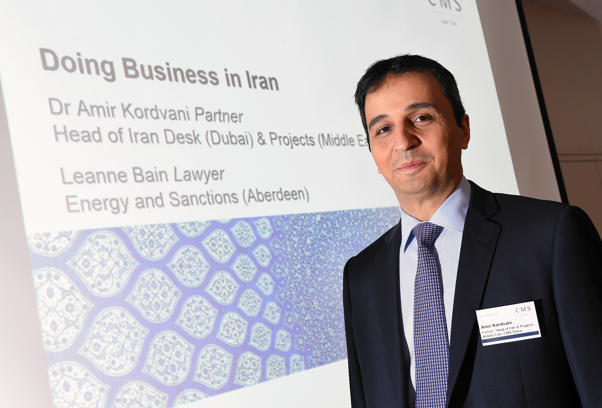 Amir Kordvani, Partner, Head of the Iran Desk, CMS Dubai.