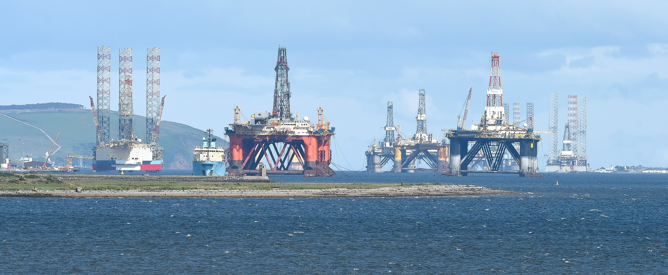 Oil rigs stacked in the Cromarty Firth