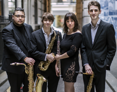 Members of the Kaleidoscope Saxophone Quartet, from left to right: John Rittipo-Moore, Guy Passey, Sally MacTaggart and Ian Dingle.  Photo courtesy of Ian Dingle