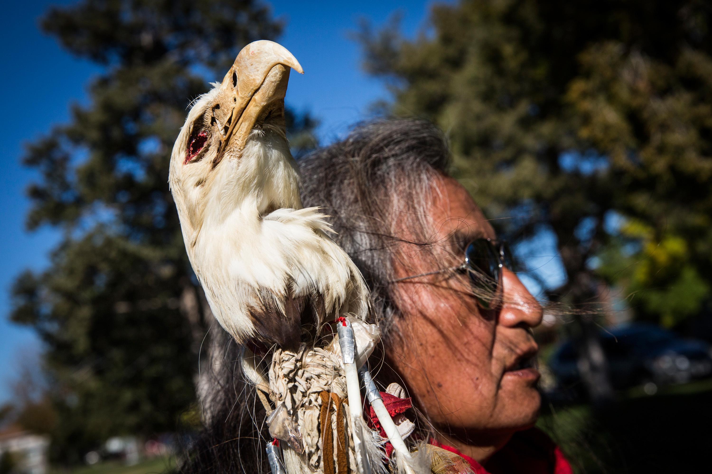 A protester against the Dakota Access oil pipeline