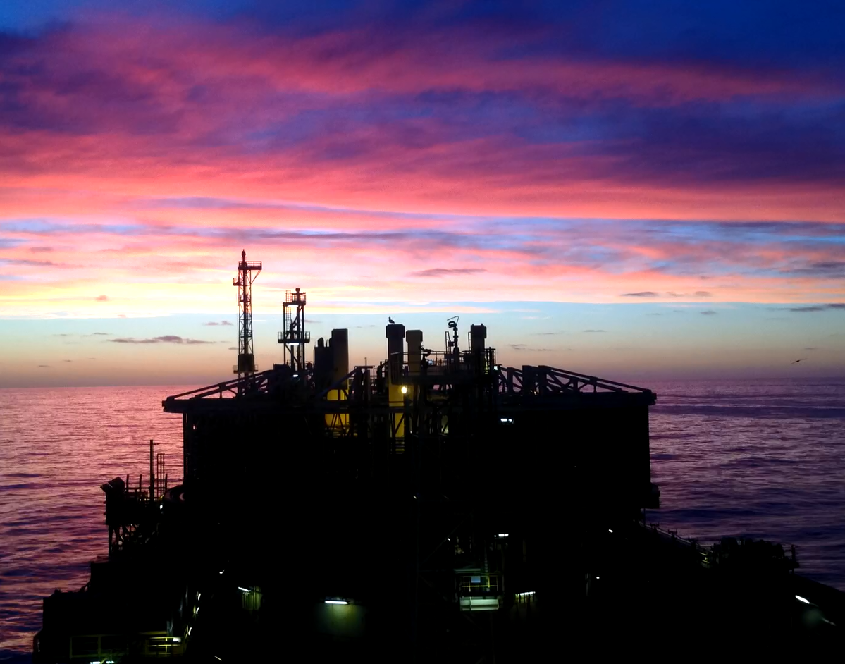 Stunning footage of a sunrise from the Gryphon A FPSO