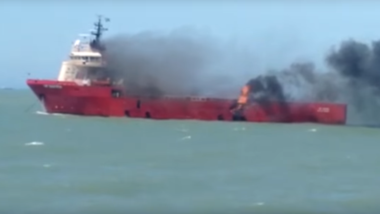 Video footage has emerged of the moment a vessel caught on fire