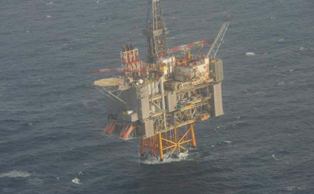 Surveillance image of BP's Clair platform