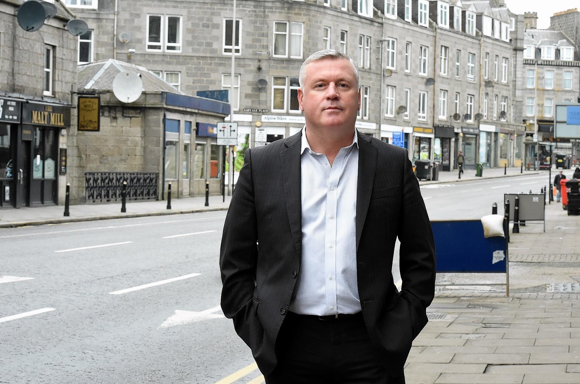 Rod Coffey on Holburn Street, Aberdeen.