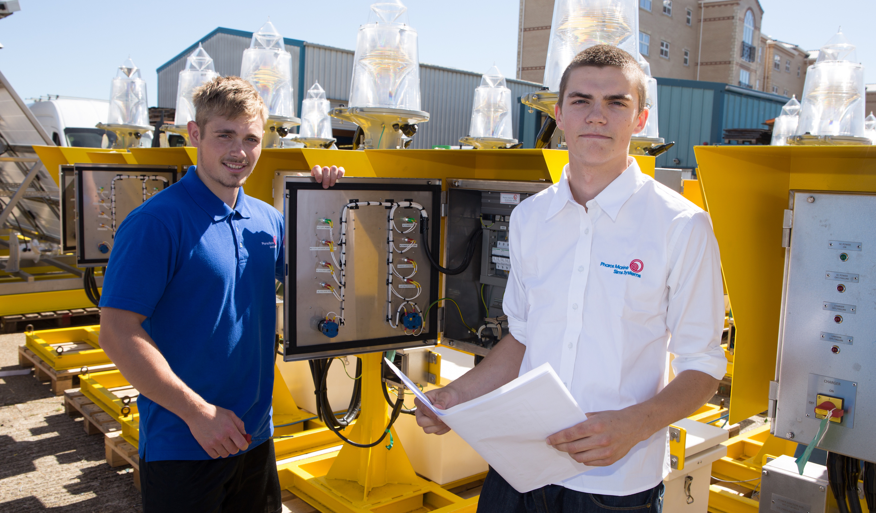 Apprentices Tom Woodruff (right) and Cory Newland, taken on by Pharos Marine Sims Systems to complete their apprenticeships after being made redundancy because of the oil & gas industry downturn