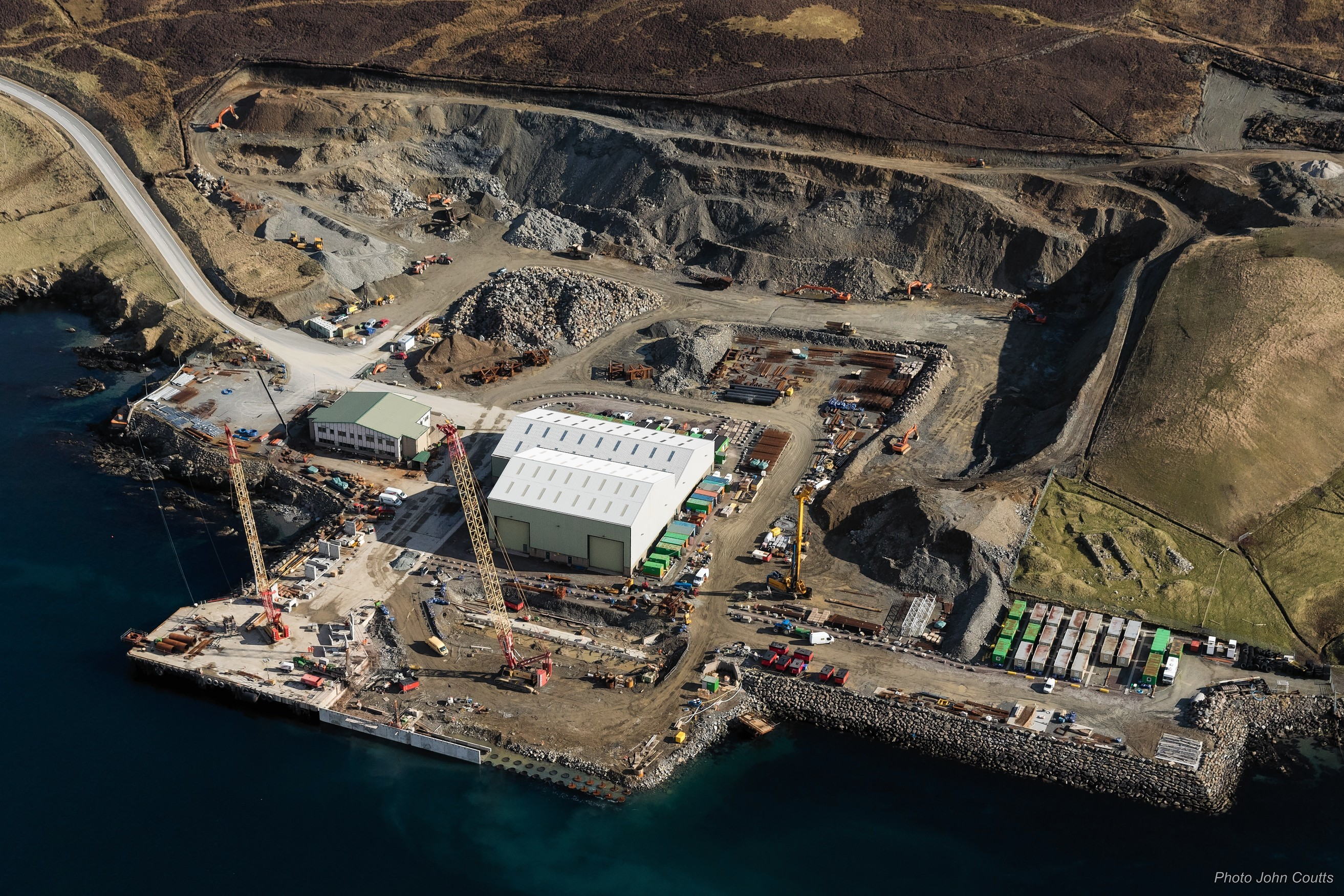Construction work being carried out on Dales Voe, Lerwick