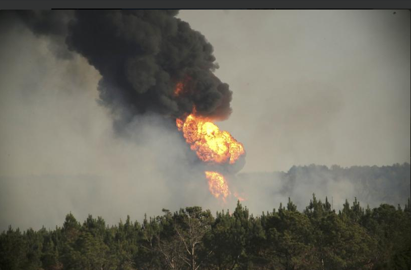 Alabama gasoline line fire
