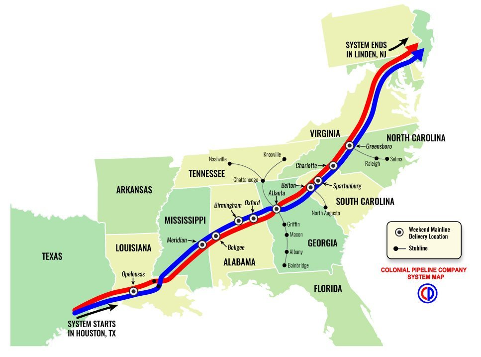 A map of the Colonial Pipeline