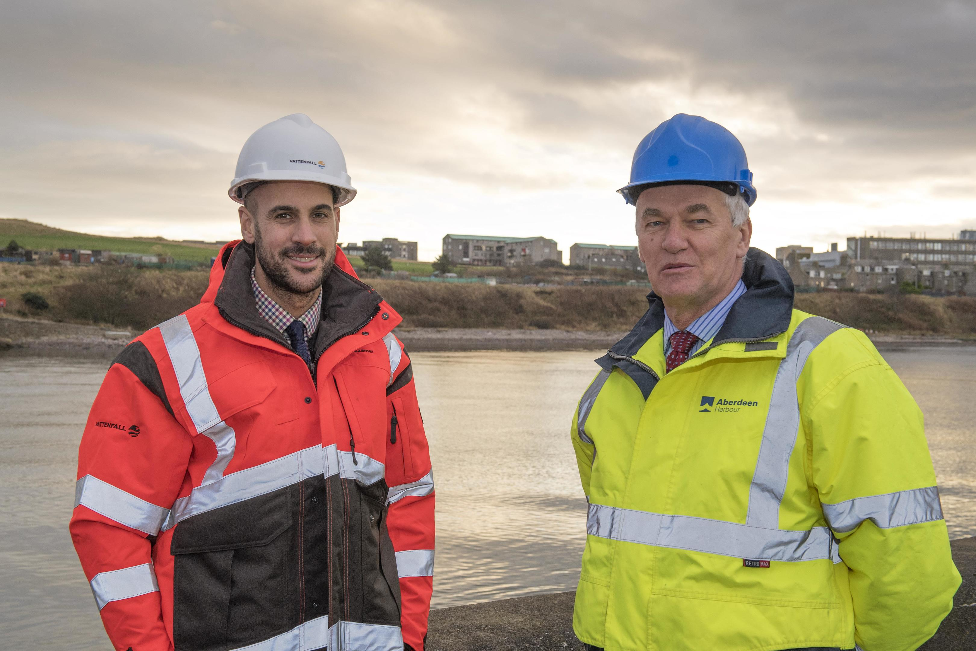 Adam Ezzamel (left), project director for the EOWDC at Vattenfall, and Colin Parker, chief executive at Aberdeen Harbour Board.