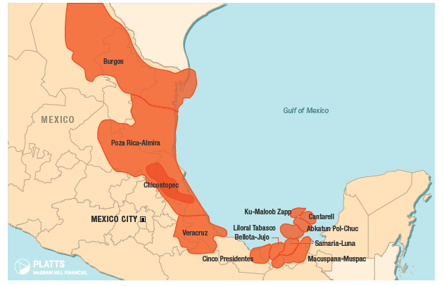 Mexico has multiple large conventional onshore oil fields