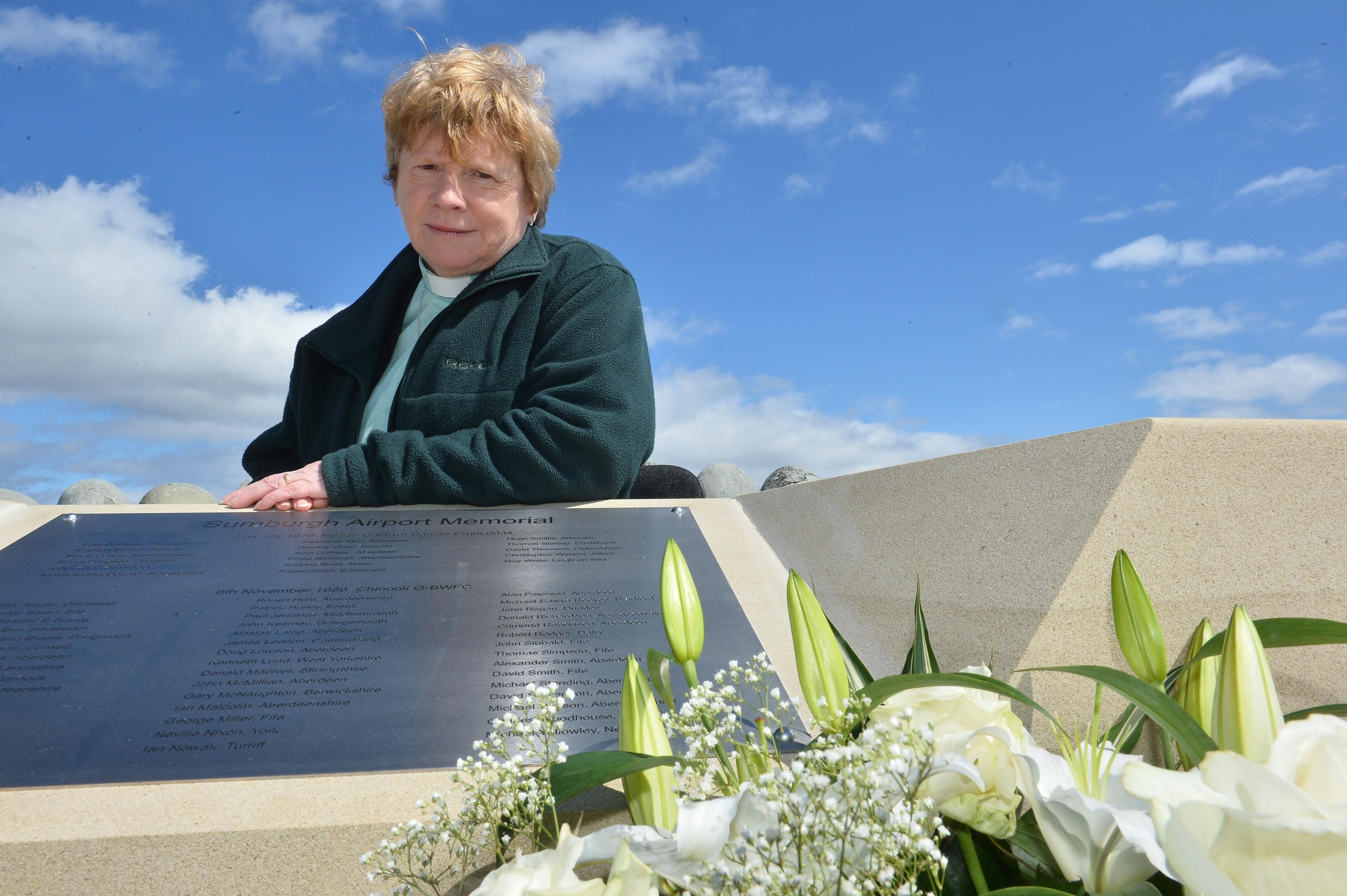 Pauline Nixon at the Sumburgh memorial