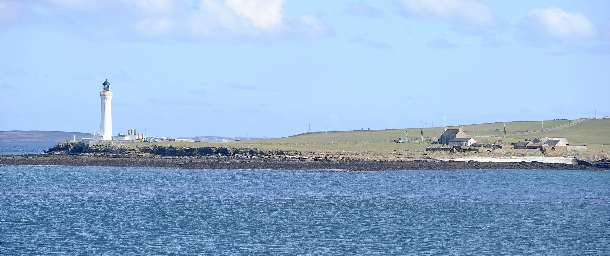 The Graemsay Lighthouse on the island of Graemsay in Scapa Flow close to Stromness.