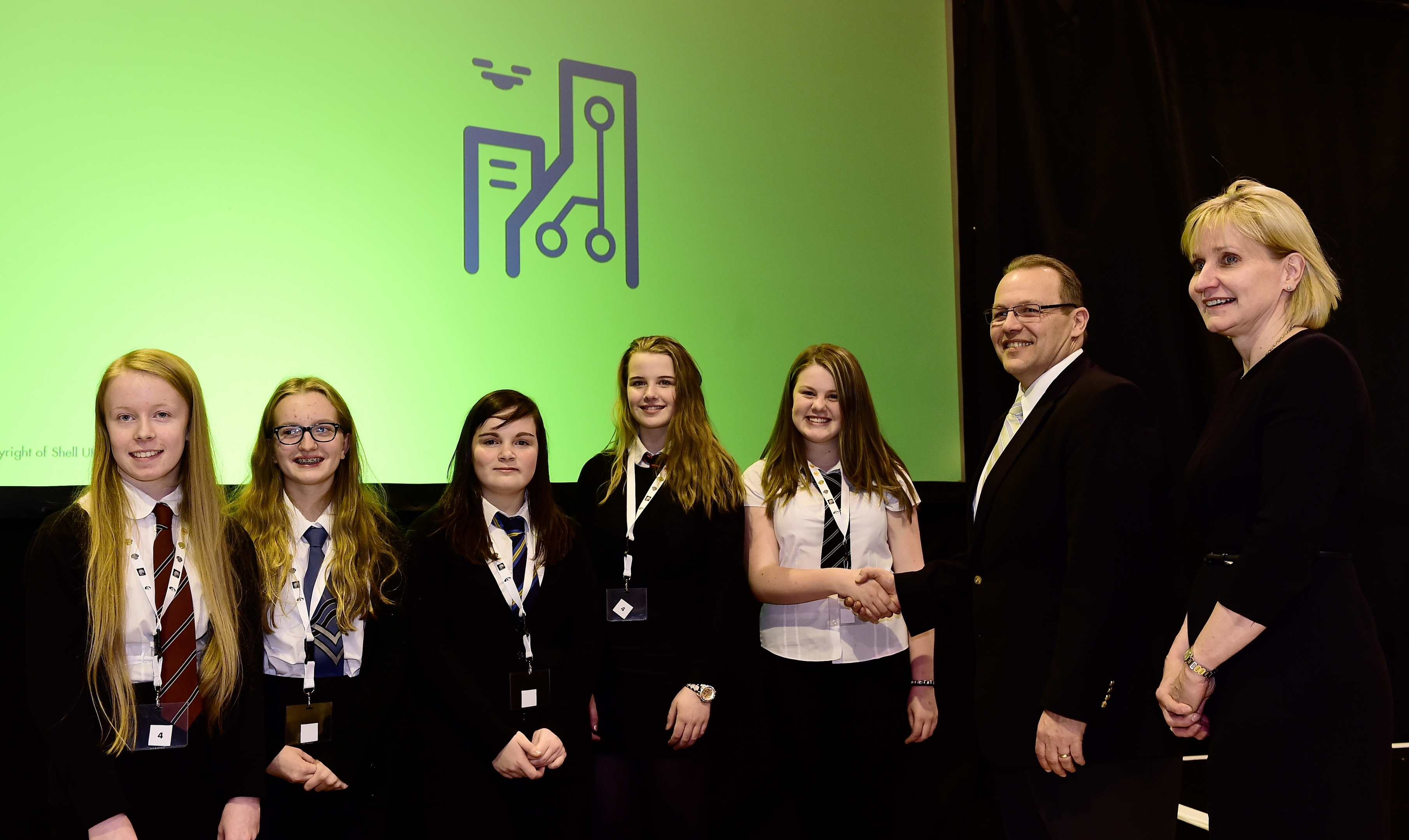 The Shell, Girls in Energy conference at Woodbank House in 2016.     Pictured - winning team TrainGen L-R Lauren Cheyne, Rachael Murray, Claire Hunter, Natasha Anderson and Claire Duthie with Paul Goodfellow, Shell UK and Deirdre Michie of UK Oil and Gas.
