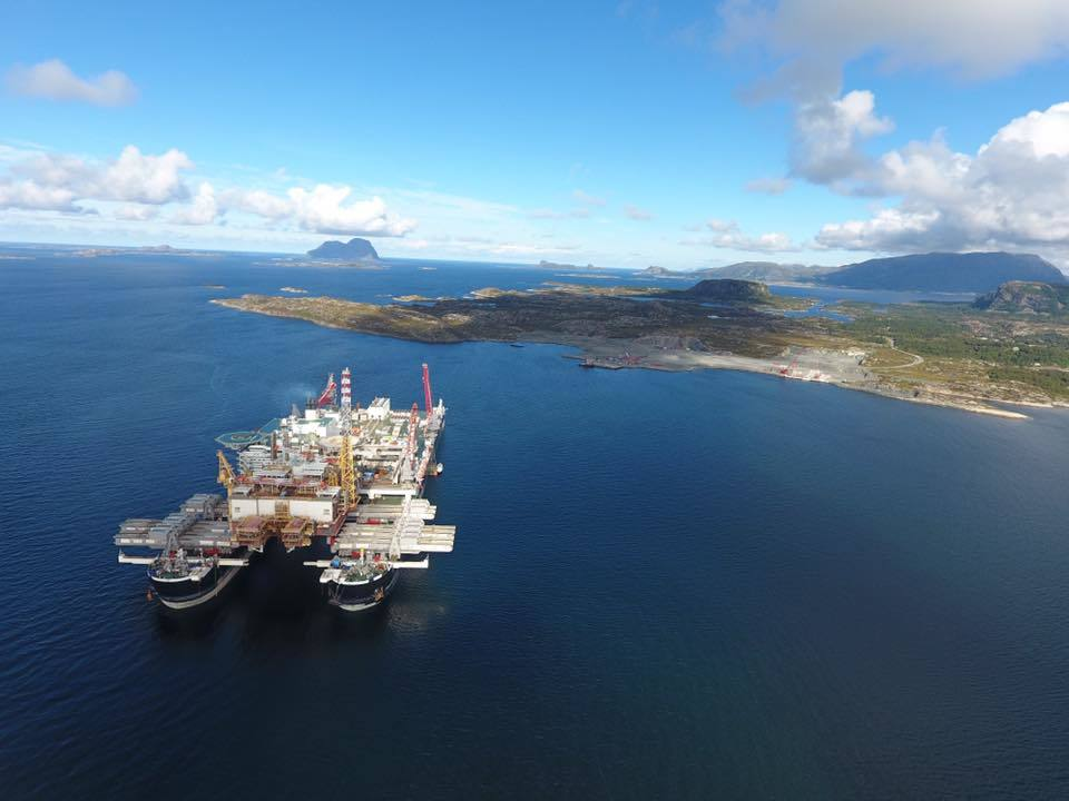 A file photo Pioneering Spirit vessel delivering the Yme topside to Lutelandet