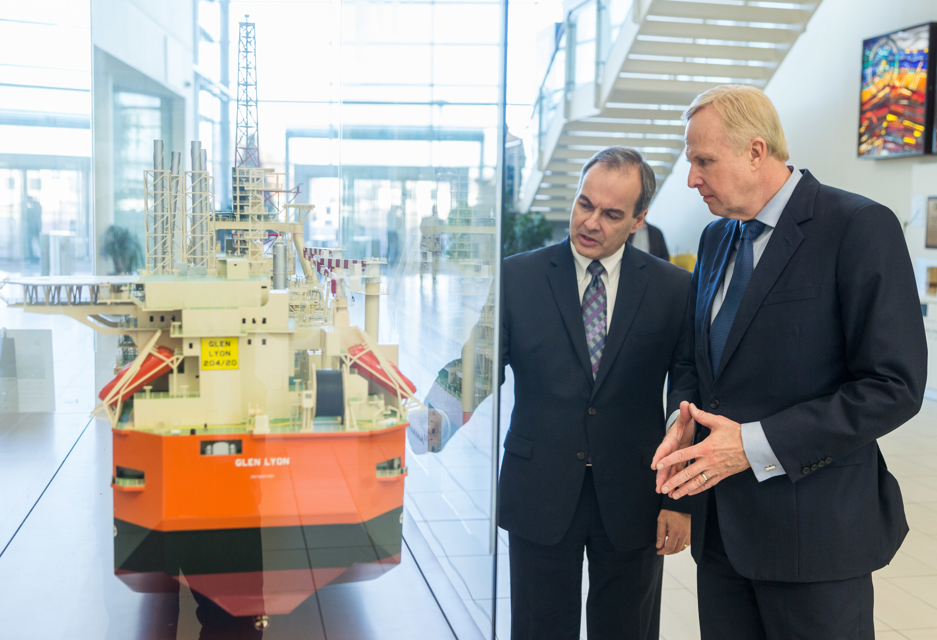 BP's North Sea president Mark Thomas with chief executive Bob Dudley in Aberdeen