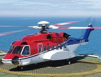 A CHC-operated S-92 helicopter on a North Sea platform