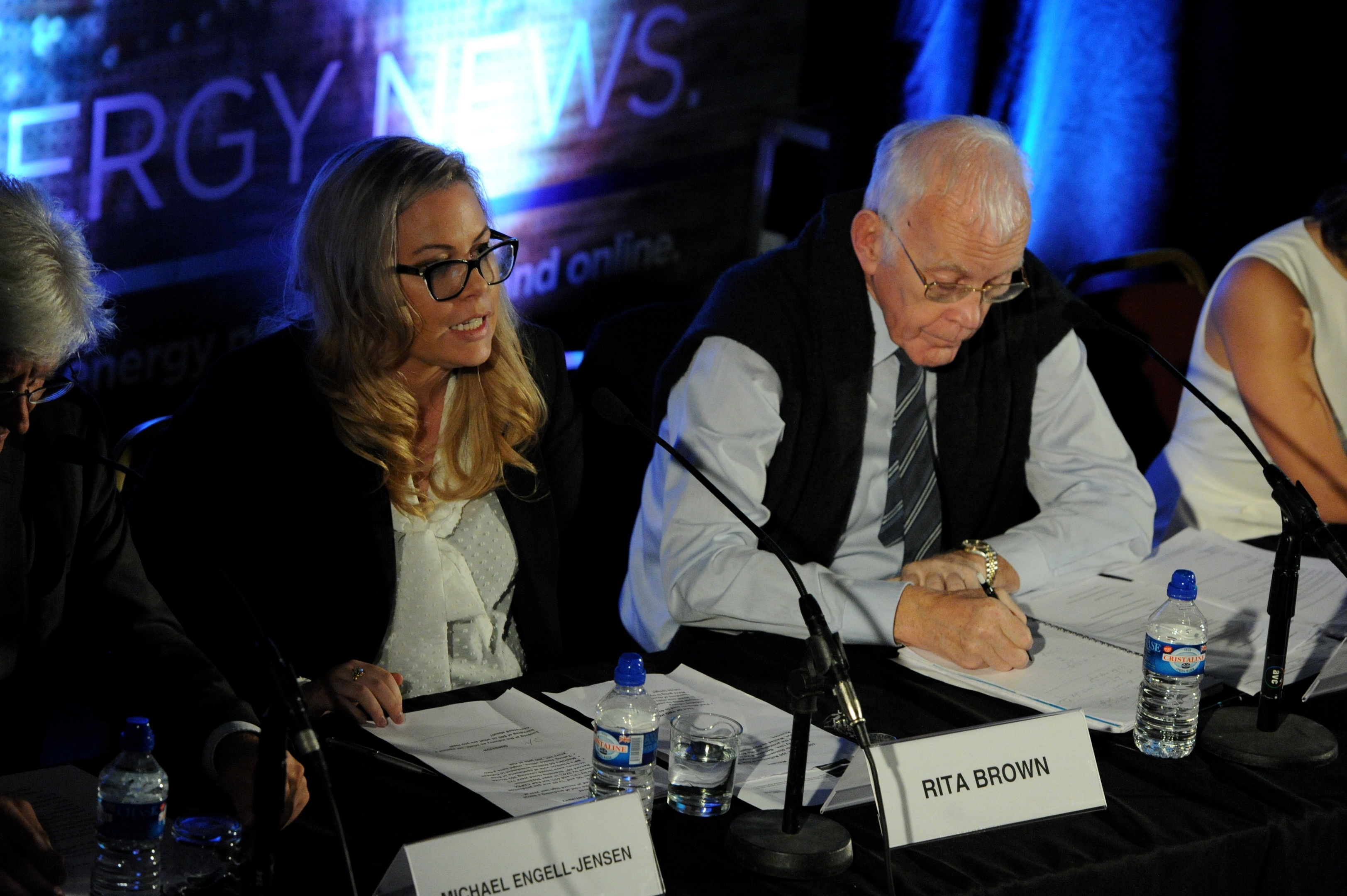 Energy Voice editor Rita Brown (left), Sir Ian Wood (right)