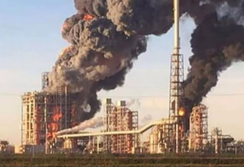 The Sannazzaro de' Burgondi refinery on fire.