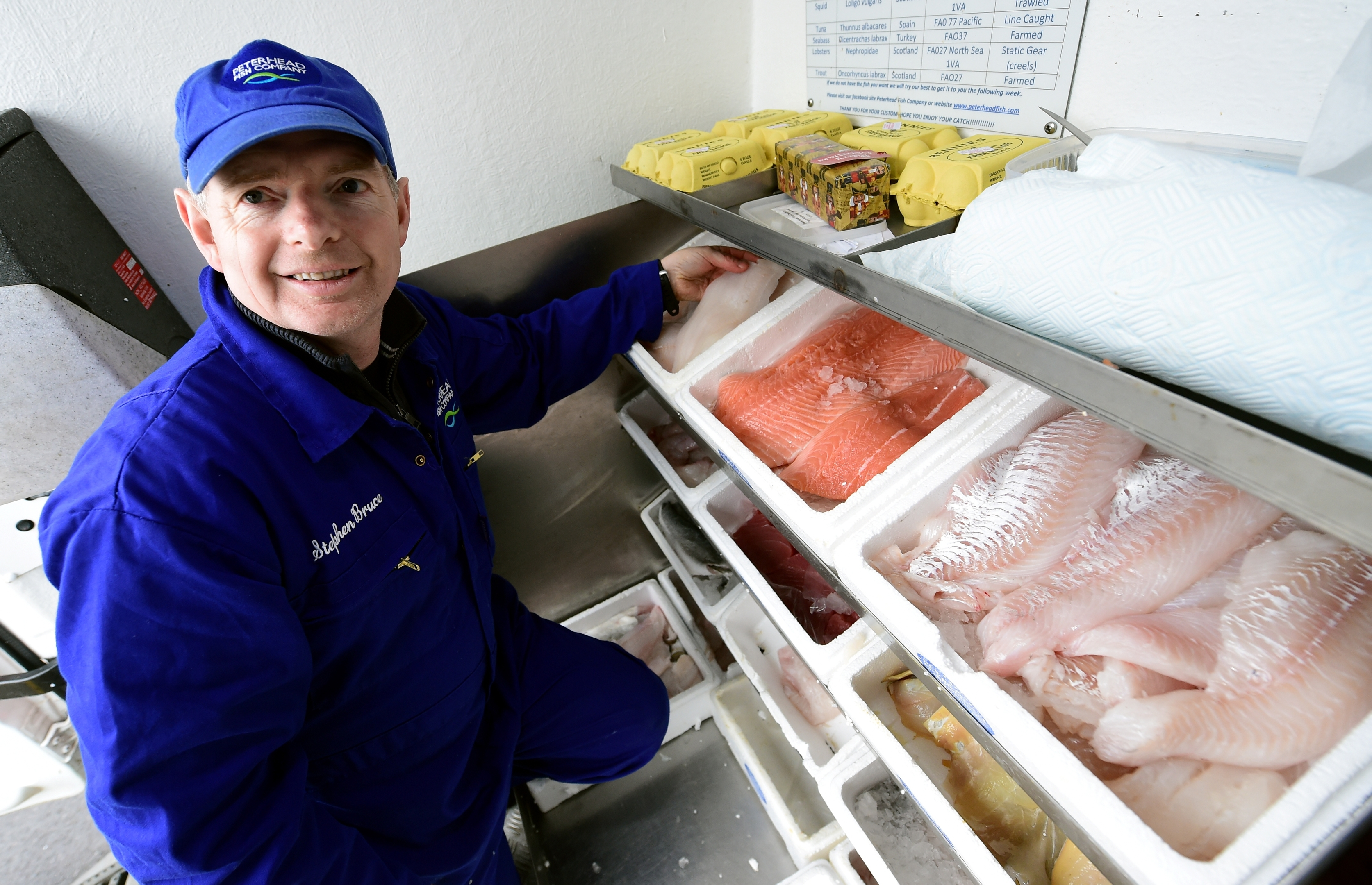 Stephen Bruce, runs his own fish business the Peterhead Fish Company. He is pictured at one of his regular stops, his former work Technip, Westhill.