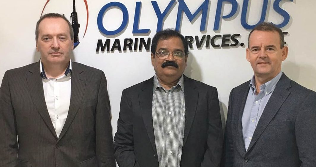 Scots entrepreneurs invest in crew management company OLYMPUS Marine Services.  Stewart MacRae, VS Devagiri, Kevin Smith