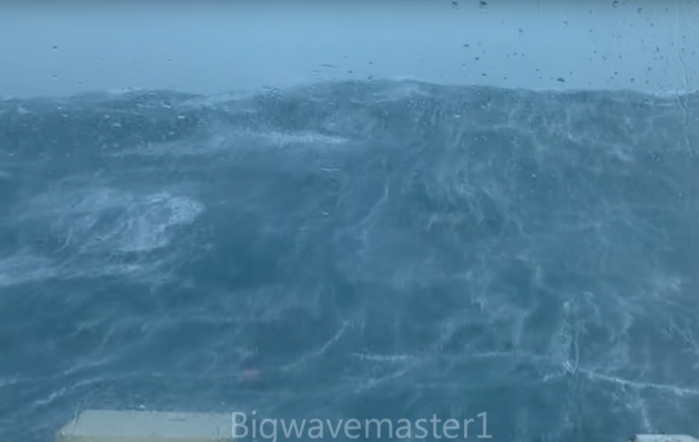 Incredible waves were captured on film in the North Sea