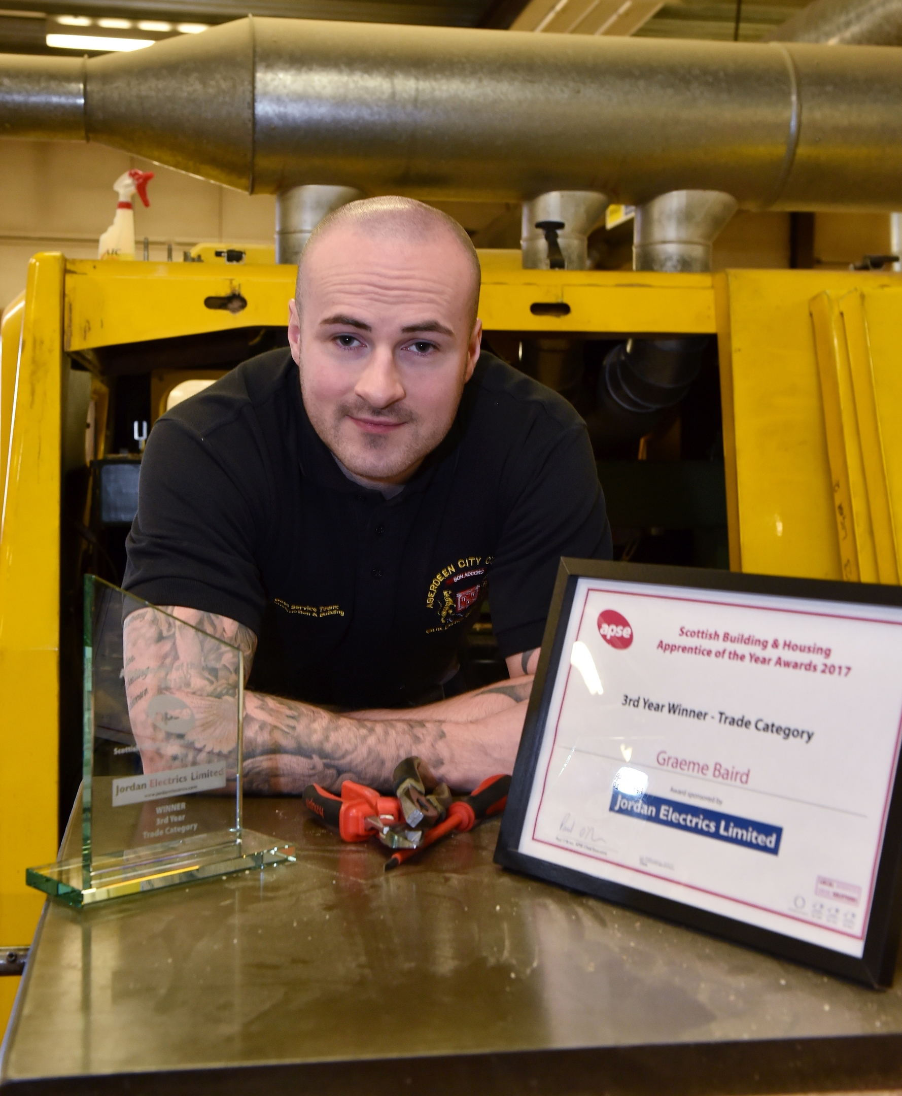 Apprentice electrician Graeme Baird at the Council's Kittybrewster depot.