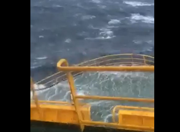 Footage of a ship crashing through huge North Sea waves. Video published by Benji.