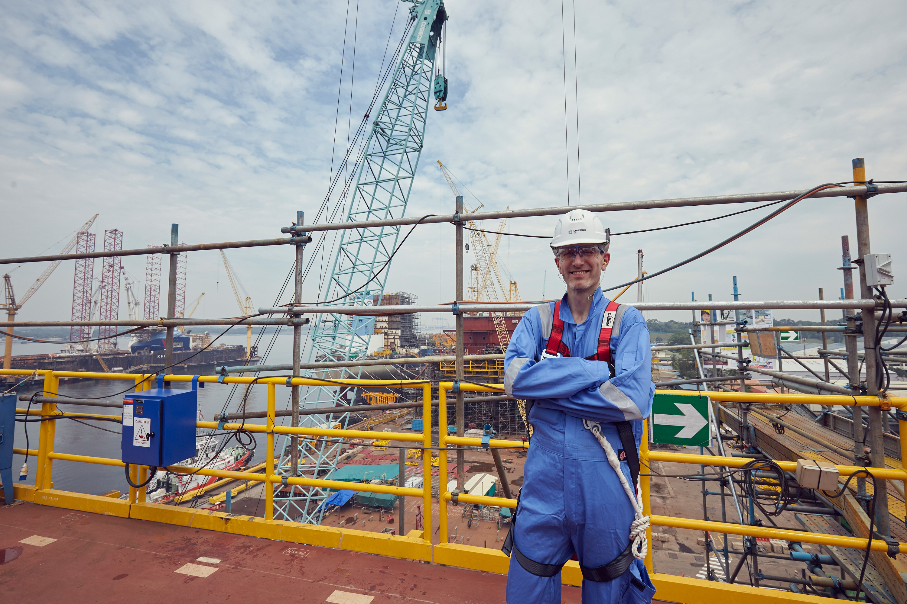 Morten Kelstrup, managing director of Maersk Oil North Sea UK, on top of the central processing facility (CPF) for the Culzean field. The platform is being built at Sembcorp Marine's Admiralty Yard in Singapore. Photograph courtesy of Alfred NG Photography and Maersk Oil UK
