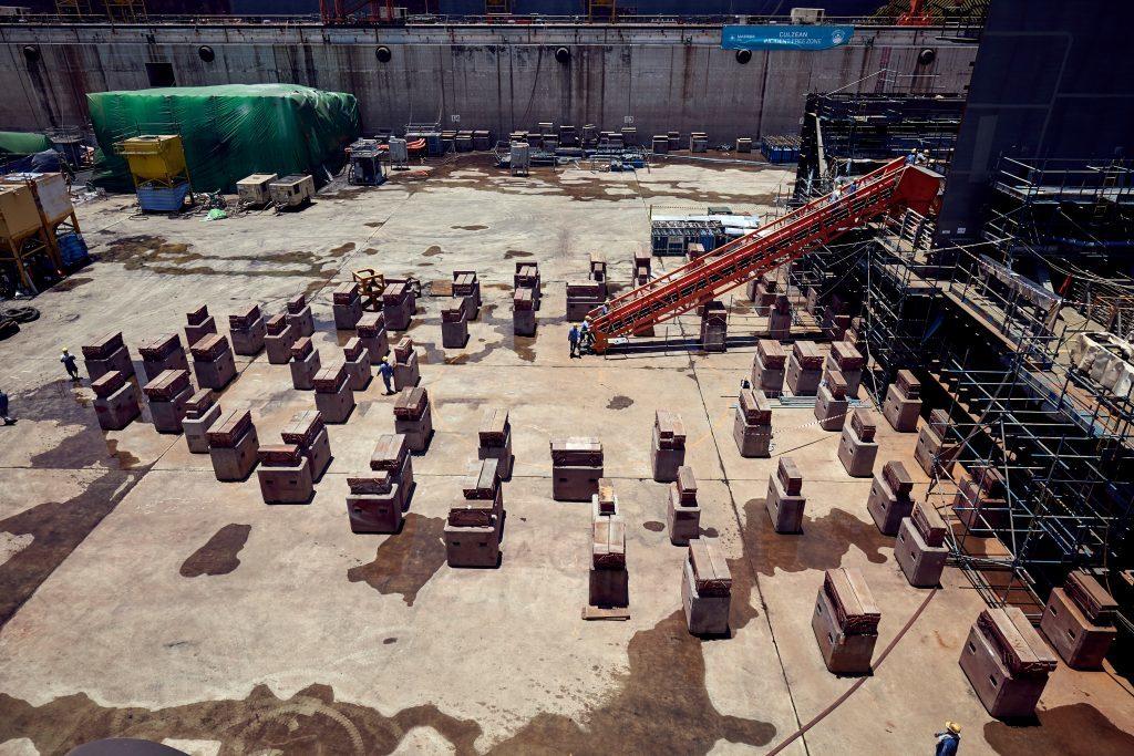 Support blocks on the dry dock floor.