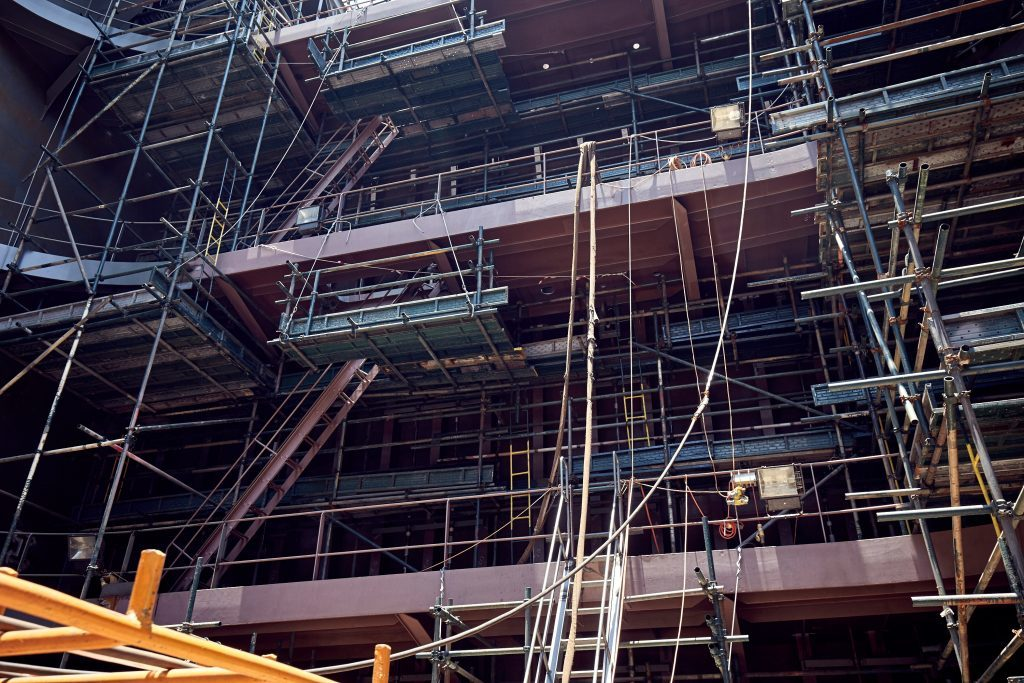 Scaffolding erected inside the FSO.