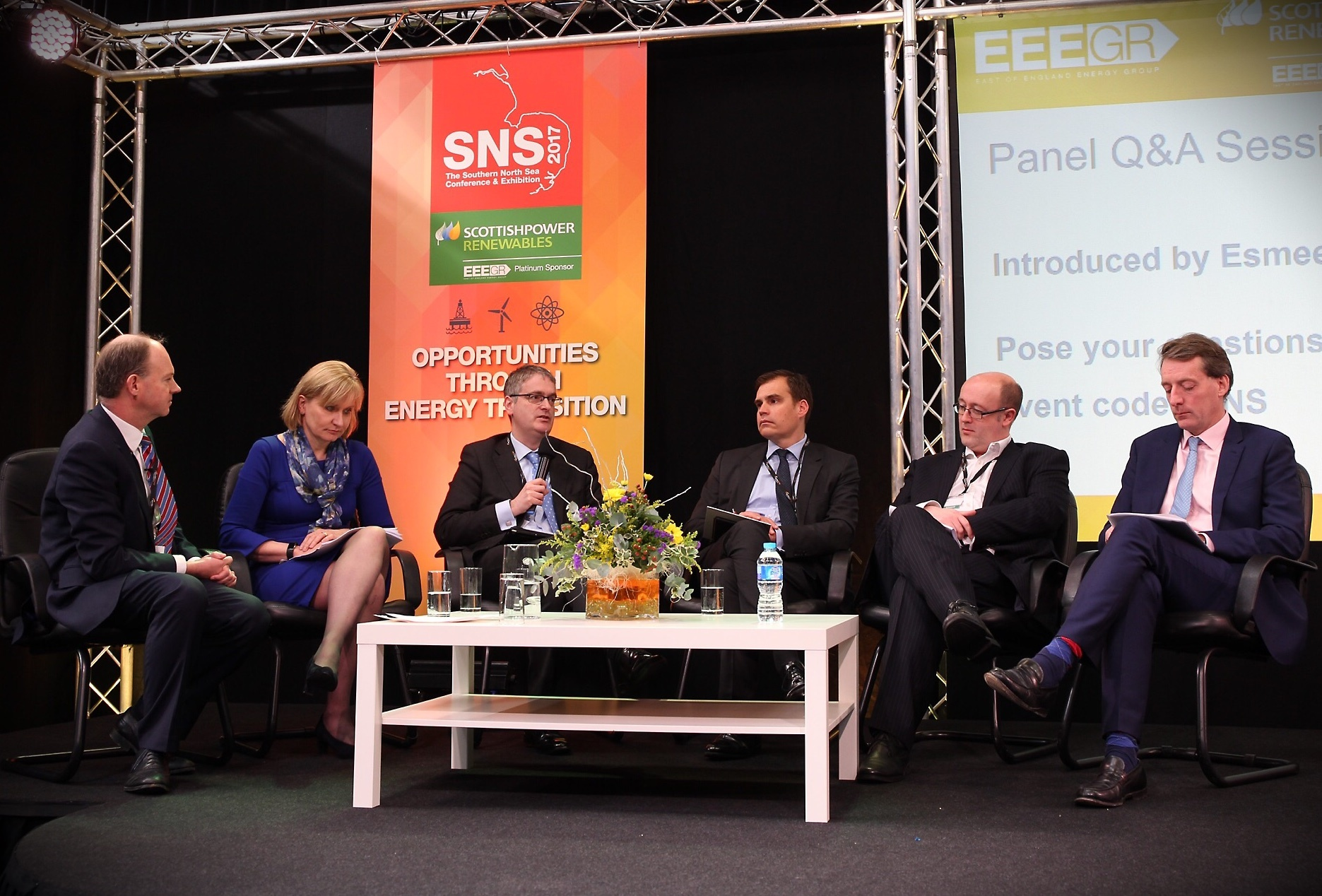 Speakers at the first panel session at SNS 2017. Photo credit: TMS Media.