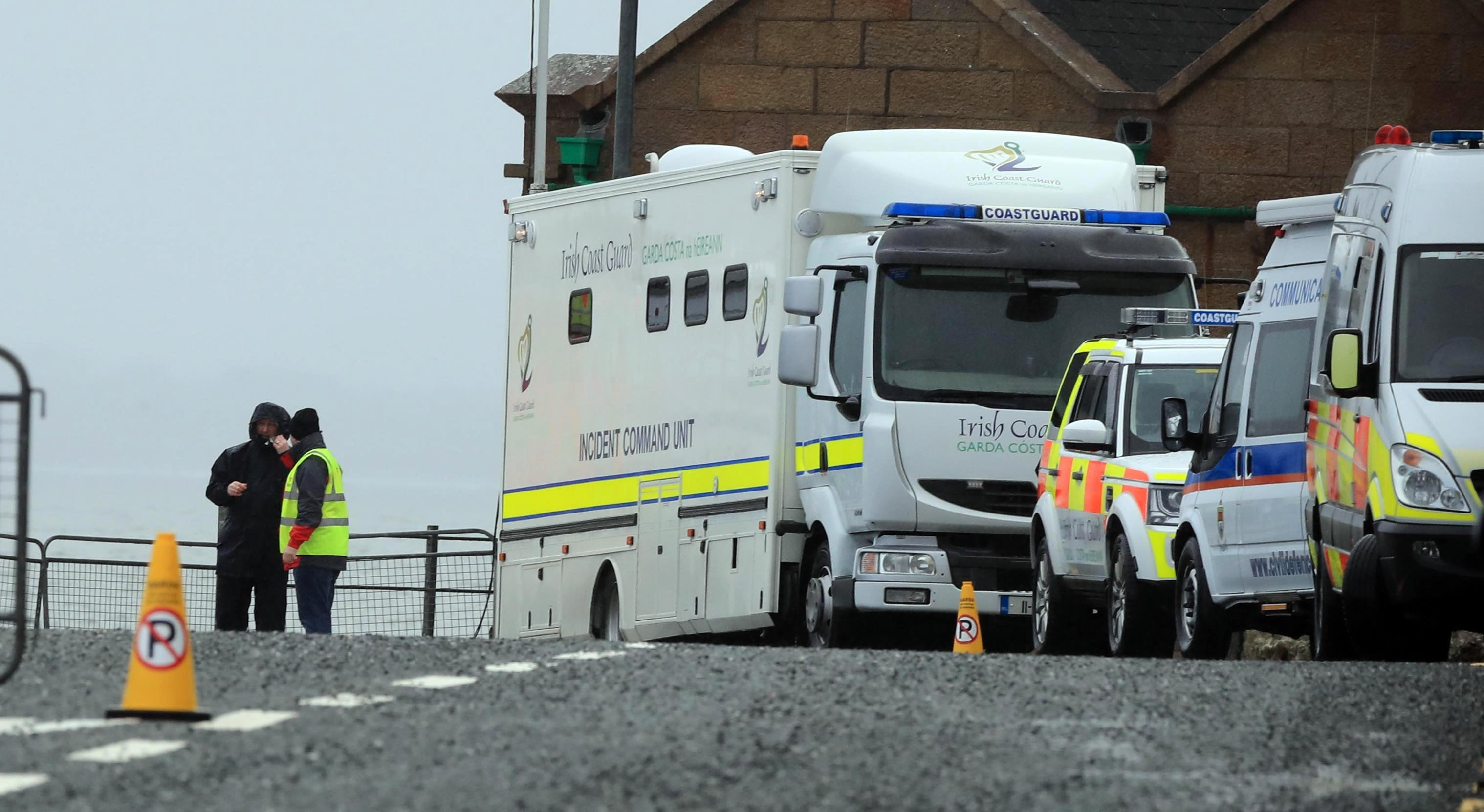 Irish Coastguard vehicles at Blacksod Lighthouse, Co. Mayo, Ireland as the search continues for an Irish Coast Guard helicopter which went missing off the west coast of Ireland