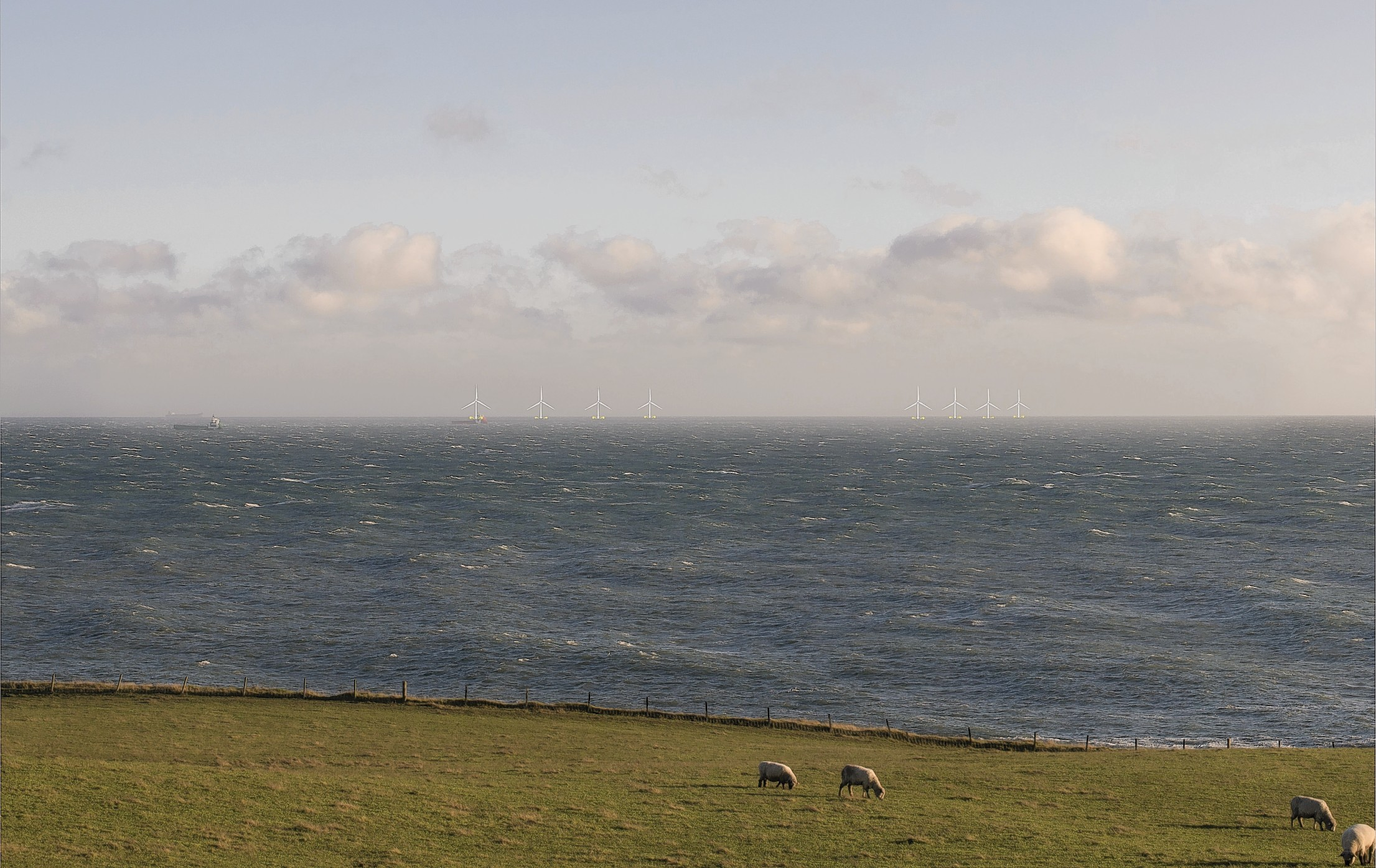 What the Kincardine Offshore Windfarm might look like from the north-east coast