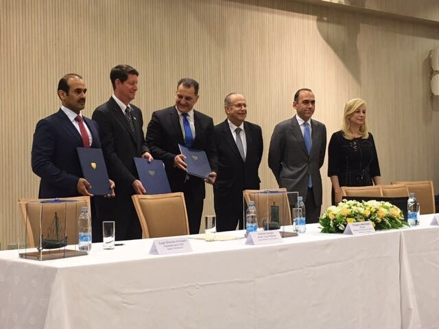 Officials from ExxonMobil, Qatar Petroleum and the Cypriot Government at the signing.
