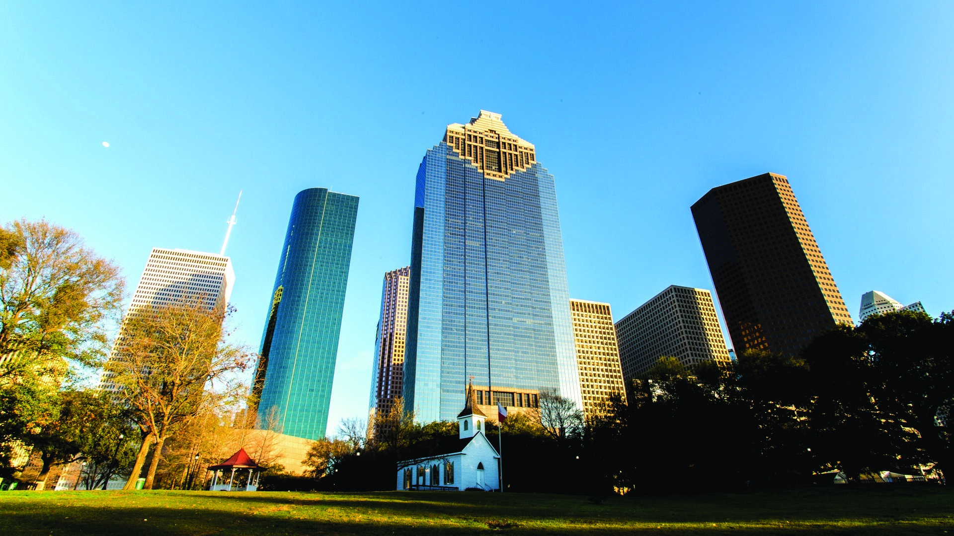 Houston's downtown Skyline from Sam Houston Park