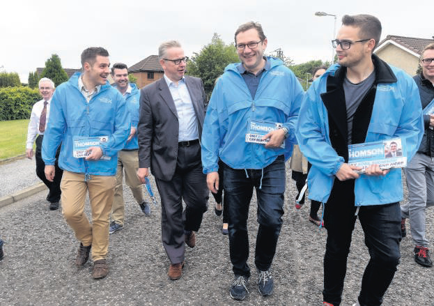 Michael Gove and Ross Thomson campaigning around the Pinecrest Gardens area.