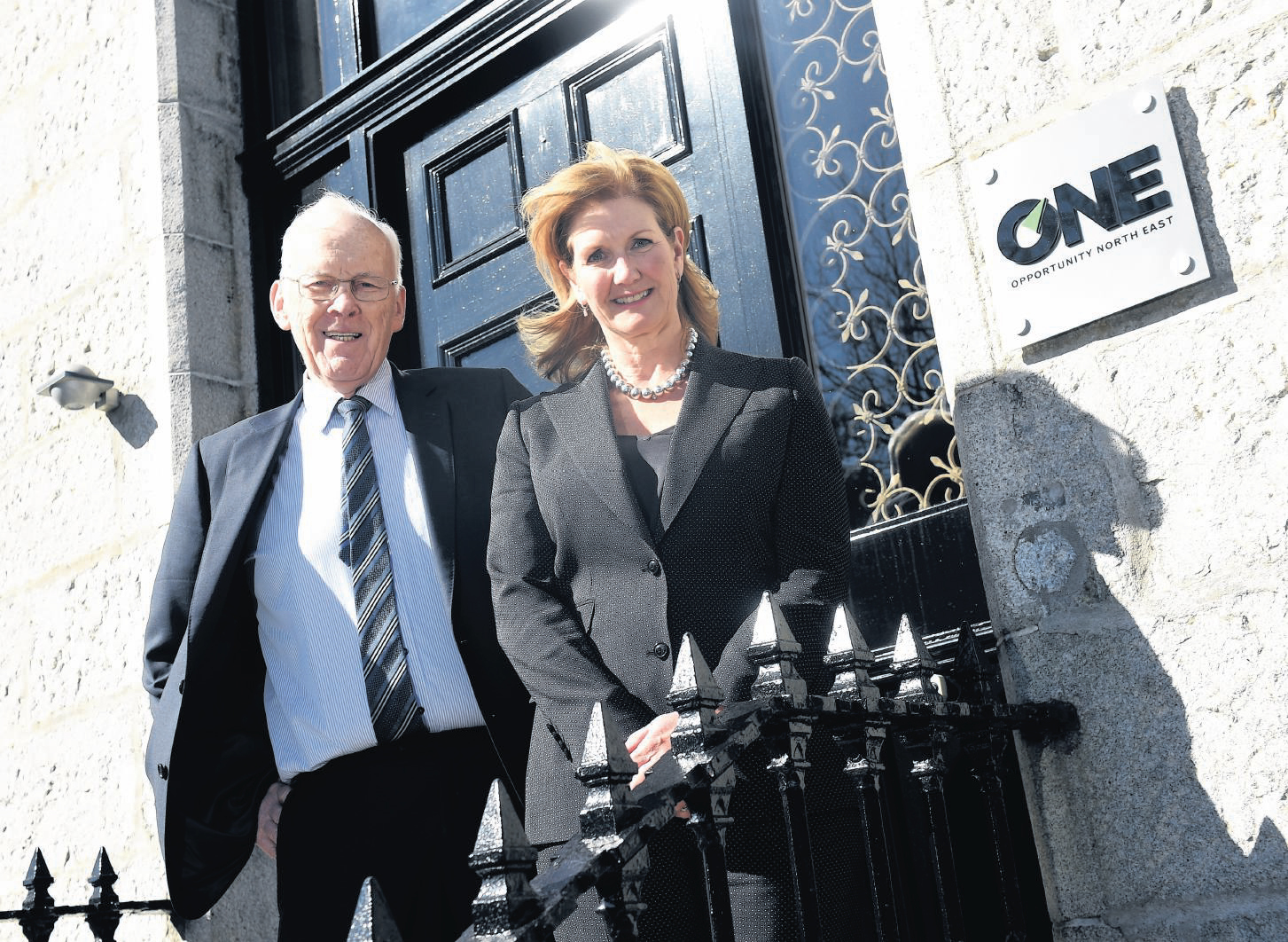 Sir Ian Wood and Jennifer Craw (Chief Executive of Opportunity North East / ONE) at Opportunity North East, Queens Gardens, Aberdeen.