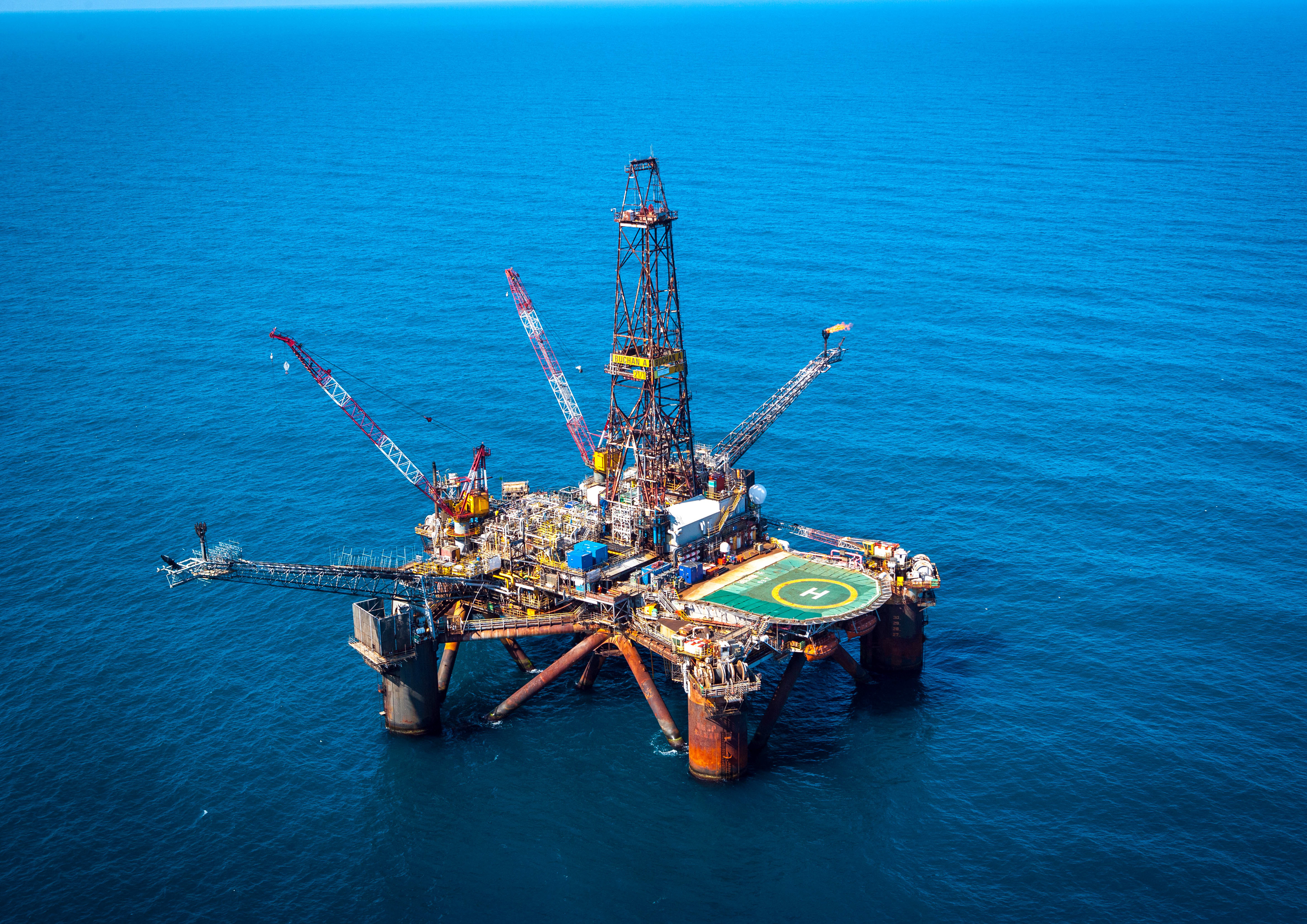 The Buchan Alpha rig has been taken to Shetland for decommissioning.