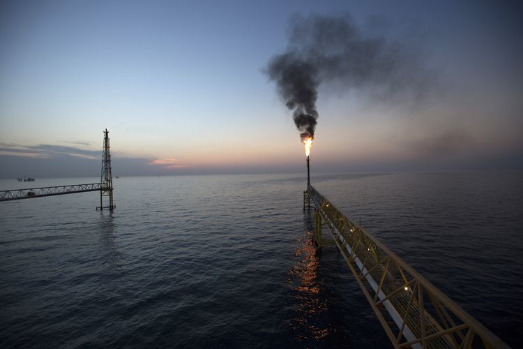 Gas flaring from an offshore platform
