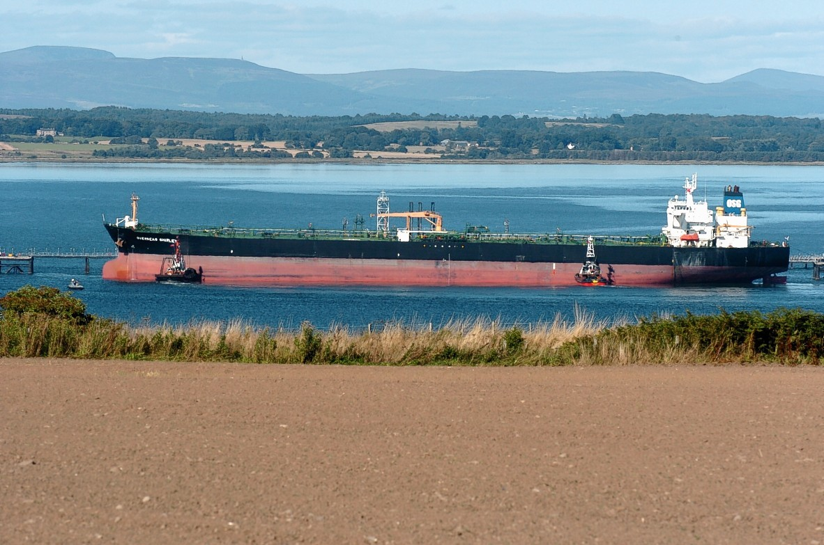 An oil tanker in the Cromarty Firth off Nigg,